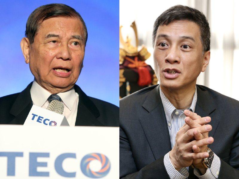 東元集團會長黃茂雄(左)與兒子黃育仁(右)為了經營權反目成仇。 /聯合報系資料照片
