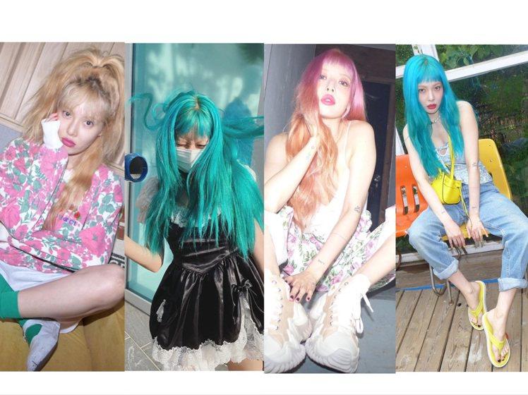 泫雅變化多端的髮色,也讓性感小野馬變成性感「彩虹小野馬」。圖/取自IG