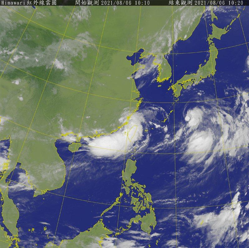 受到盧碧颱風外圍環流影響,澎湖地區有局部大雨發生的機率。圖/氣象局
