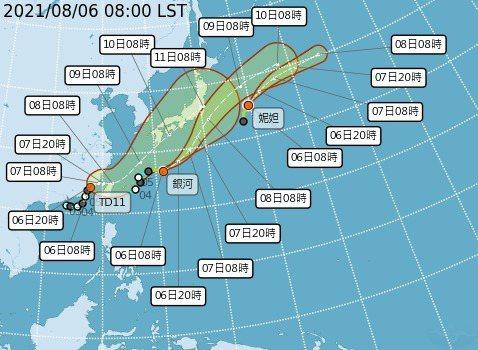 盧碧颱風已減弱為熱帶性低氣壓,太平洋剩銀河和妮妲颱風。圖/氣象局