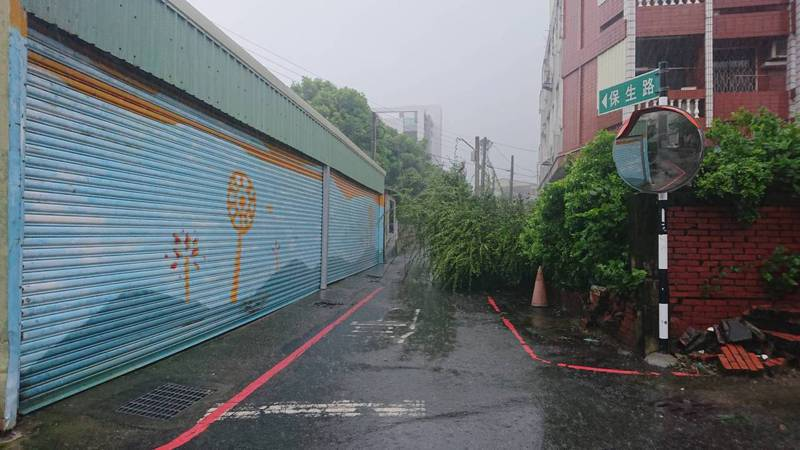 台南上午大雨不斷,仁德區多處積水、路樹傾倒難以通行。記者周宗禎/翻攝