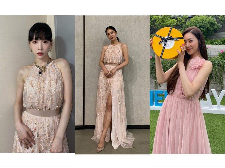 少女時代的太妍、俞利撞衫,意外和Tiffany湊成了「最美伴娘」穿搭參考。圖/取...
