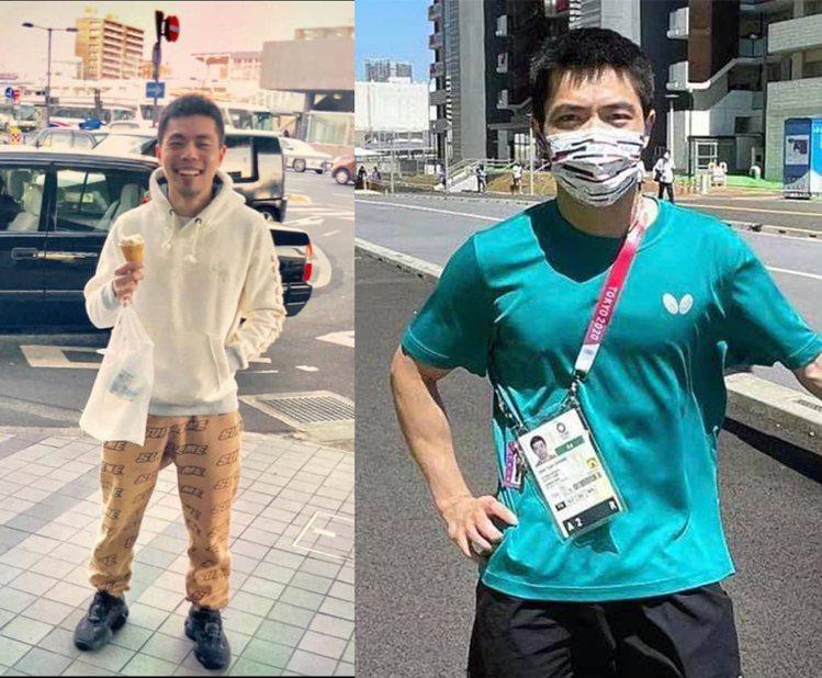 莊智淵facebook貼出一張舊照(左)近期私下較隨興穿搭(右),呈現強烈對比,...