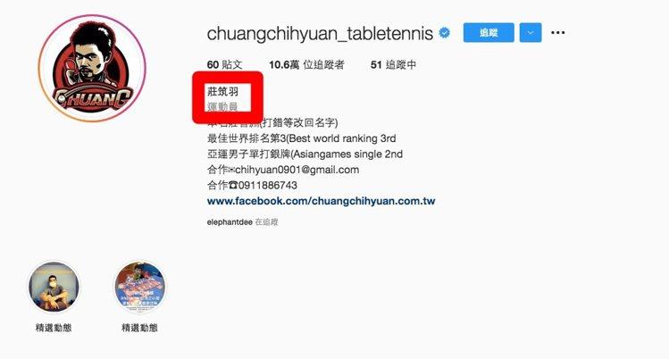 莊智淵IG一度被迫改名,經過數小時後已修正。圖/摘自莊智淵instagram