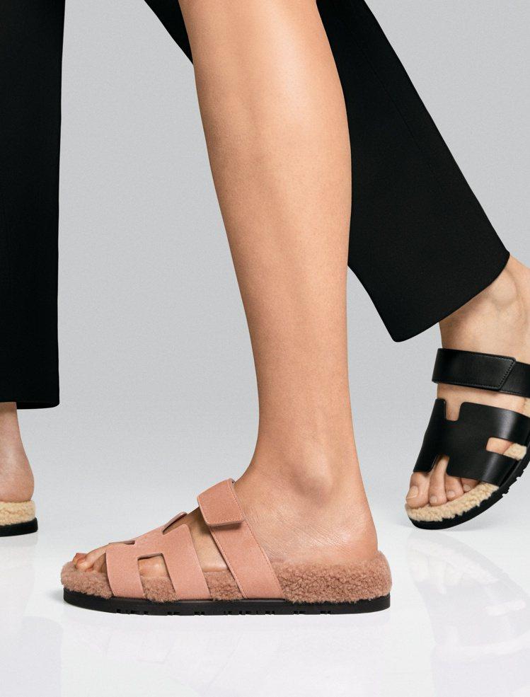 如果喜歡中性一點的設計,愛馬仕也提供另一款羊毛底拼接皮革線面的拖鞋。圖/愛馬仕提...