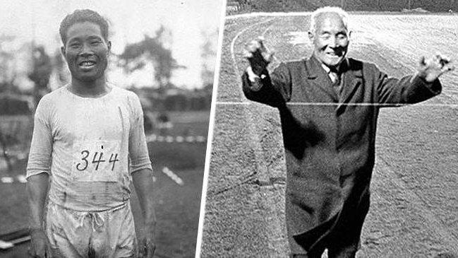 「日本馬拉松之父」金栗四三1912年參加斯德哥爾摩奧運(左圖),但他跑了三分之二路程後神秘失蹤,直到54年後才受邀回斯德哥爾摩跑完全程(右圖)。圖/取自推特
