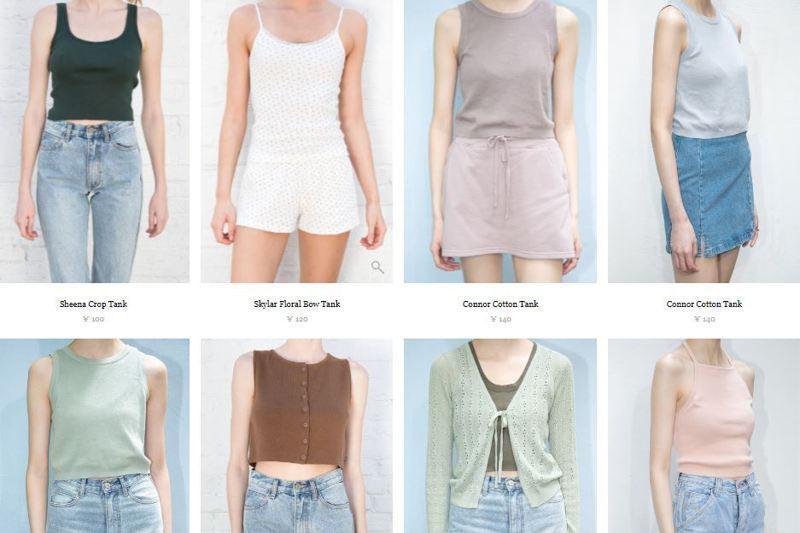 Brandy Melville品牌服裝主打one size、緊身、短上衣、格紋等風格。圖/取自Brandy Melville中國官網