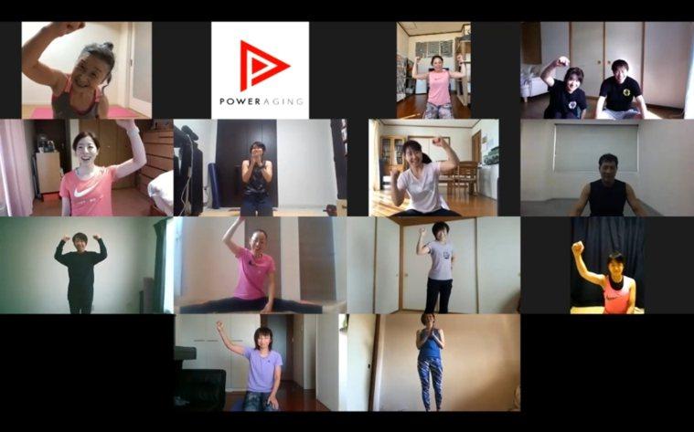 瀧島未香(左上角)與她線上課程的學生們。 圖/取自50+