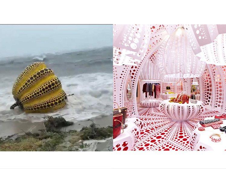 草間彌生在直島的裝置藝術南瓜,被盧碧颱風吹走,也讓人想起她近年的多個經典聯名。圖...
