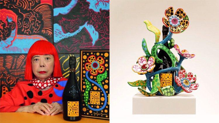 草間彌生與凱歌香檳的跨界聯名,包括全球限量100支的花朵雕塑瓶身。圖/皆取自Ve...