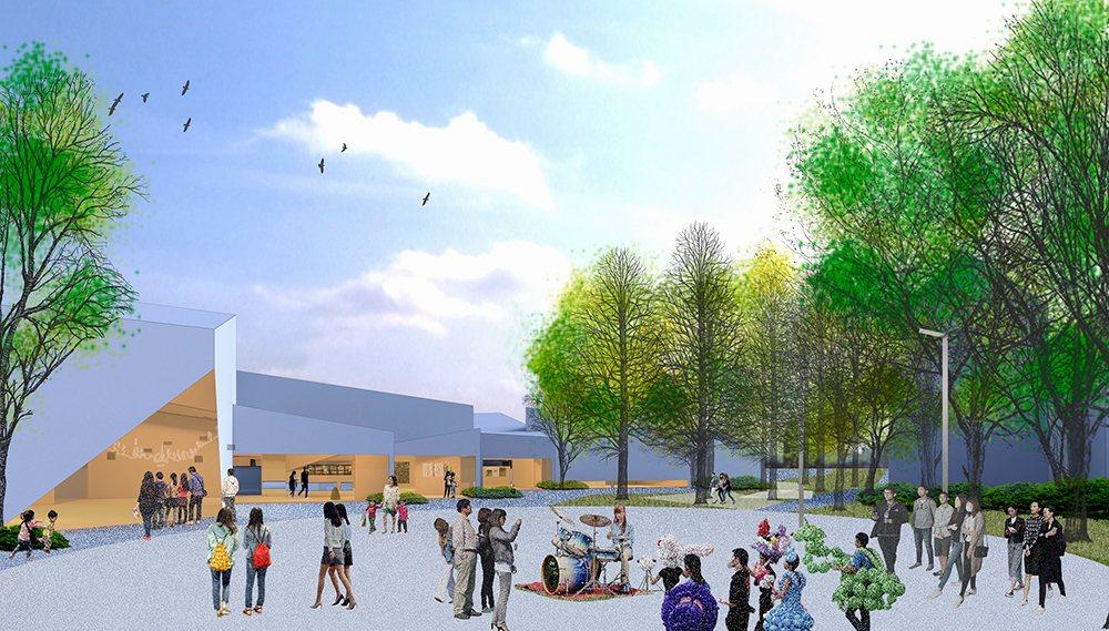 呈帶狀的「內惟藝術中心」長達168公尺,與即將建設之輕軌C21A站、立體停車場僅...