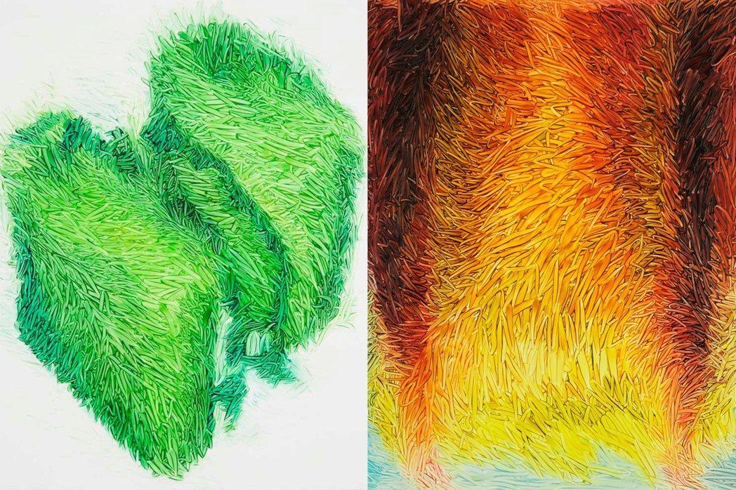 彼得・辛莫曼作品「磚」(左圖)、「火焰」(右圖)。圖/路由藝術提供