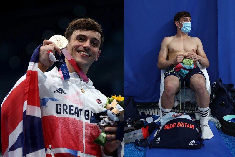 跳水金童Tom Daley一邊比賽一邊打毛線,堪稱本屆奧運最養眼鏡頭之一。圖/摘自2020Tokyo intagram