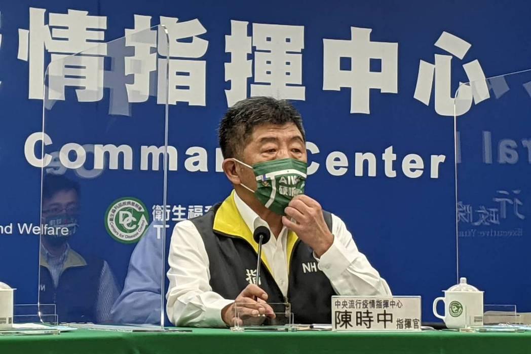 「Taiwan in圖」的組合結構,是由「羽球場地」、「電腦模擬落點」以及「英文字Taiwan設計字」(T與羽球場結合)共同形成的組合圖案。圖為陳時中配戴「Taiwan硬啦」口罩。 圖/聯合報系資料照