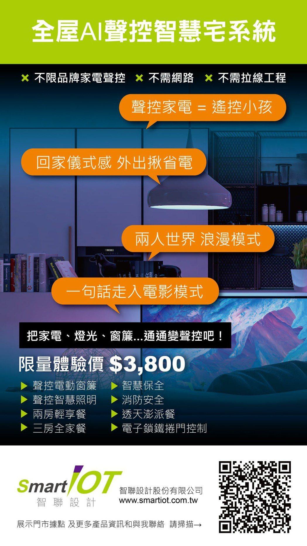 智聯設計全屋AI聲控智慧宅系統。 業者/提供