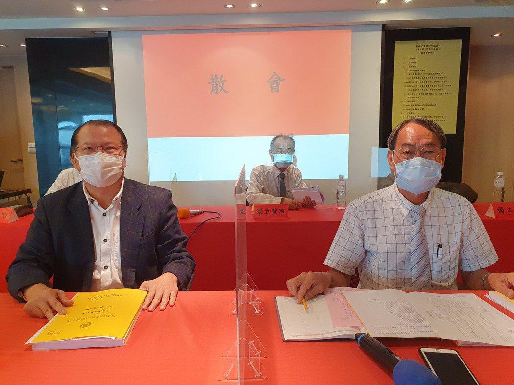 廣越董事長楊文賢(右)與總經理吳朝筆。(記者曾仁凱/攝影)