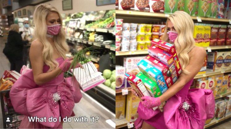 芭黎絲穿著Christian Cowan的訂製服去超市採買時,有各種芭比娃娃的行...
