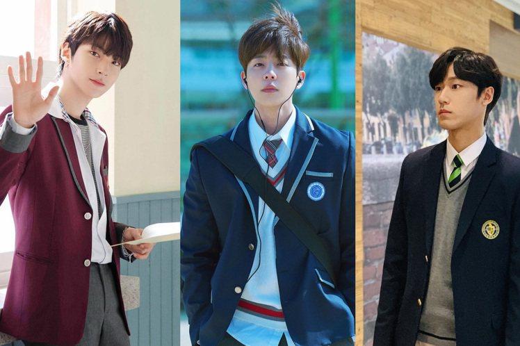 (左起)韓星黃寅燁、蔡鍾協和李到晛,都分別在不同韓劇,以超齡姿態扮演高中生。圖/...