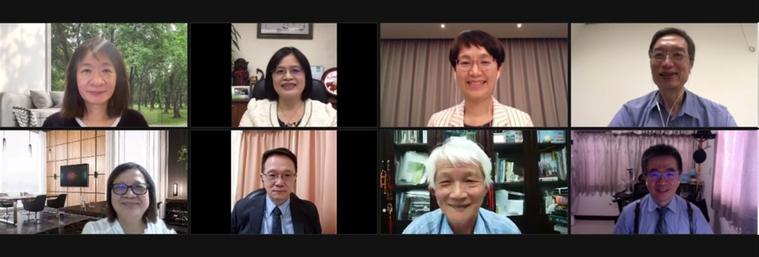 聯合報健康事業部與台灣司法精神醫學會舉辦思覺失調視訊專家會議,上排左起台灣生物精...