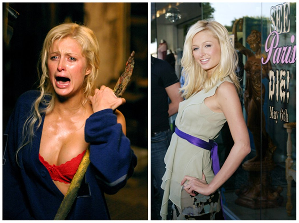 左為恐怖蠟像館劇照,右為當時的宣傳「來看芭黎絲去死」(See Paris Die...