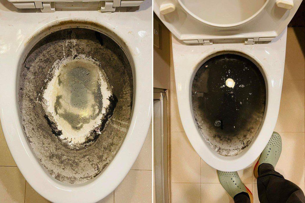 一名房東在房客退租後進到屋內查看,竟發現馬桶嚴重堵塞還溢汙水,讓他很傻眼。 圖/...