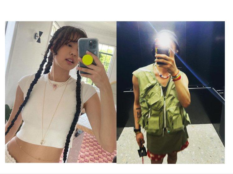 GD和Jennie再度被抓到選用同品牌飾品,隔空放閃。圖/取自IG