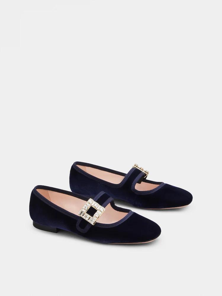 Roger Vivier Tres Vivier深藍絲絨鑽扣瑪莉珍鞋,46,20...