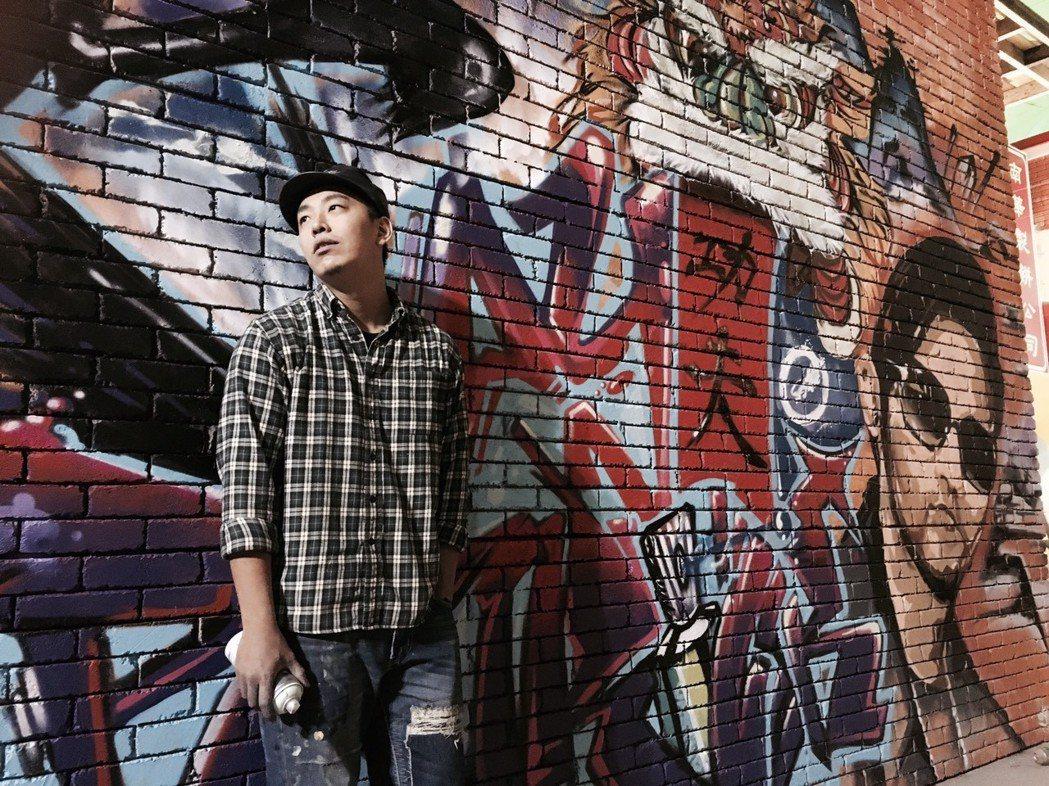 傅星翰曾參與周杰倫電影「功夫熊貓3」主題曲MV彩繪。圖/星奇三創意提供