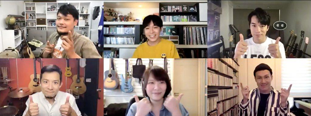 魚丁糸阿福(左上起)、青峰、家凱、小威、馨儀、阿龔暢談「池塘怪談」製作過程。圖/