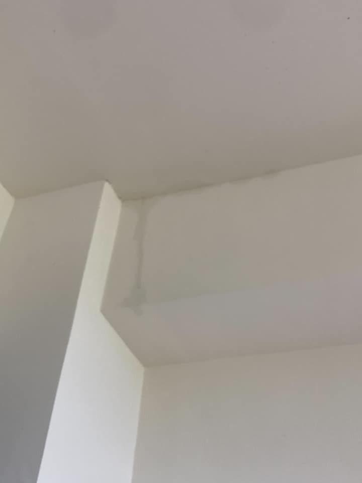 一名女網友買了預售屋,但在大雨過後卻發現屋內漏水,建商的答案更讓她難以接受。 圖...