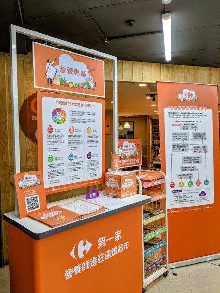 家樂福敦北超市導入專業營養服務進駐社區型超市,在入口區設立「營養專區櫃檯」,幫助...