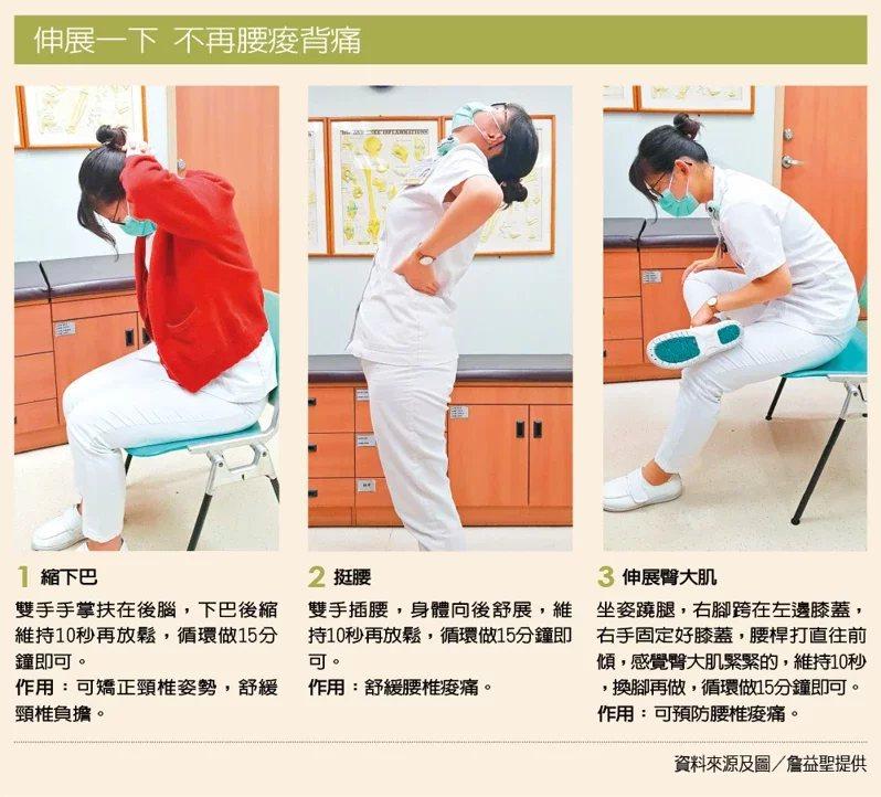 伸展一下不再腰痠背痛。 圖/詹益聖 提供