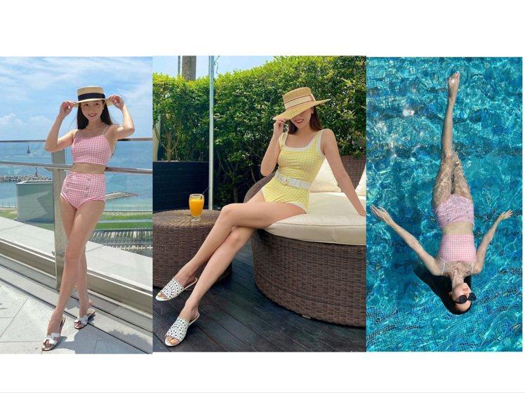 Jessica穿BLANC & ECLARE泳裝,宛如拍攝豪宅廣告。圖/...