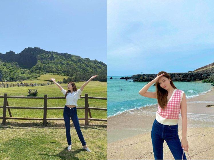 喜愛格紋穿搭的Jessica,常到濟州島享受夏日陽光。圖/IG