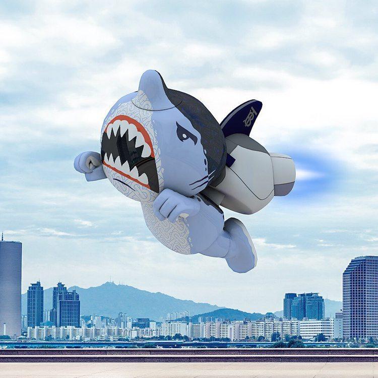 BURBERRY的Sharky B角色以香港為背景的形象圖。圖/取自品牌IG