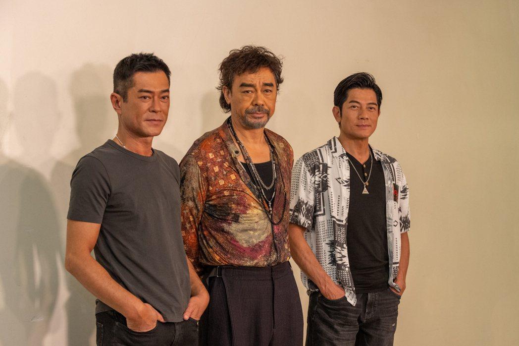 古天樂(左起)、劉青雲、郭富城聯手主演「掃毒3天大地大」。圖/寰宇提供