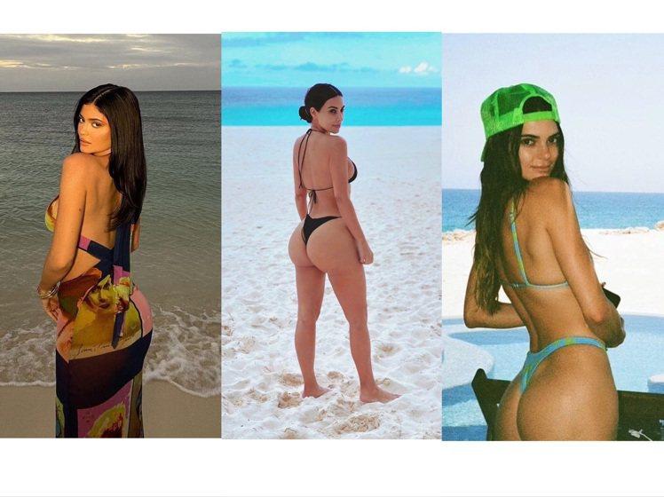 凱莉珍娜、金卡戴珊、坎達爾珍娜都喜愛拍性感背影照。圖/取自IG