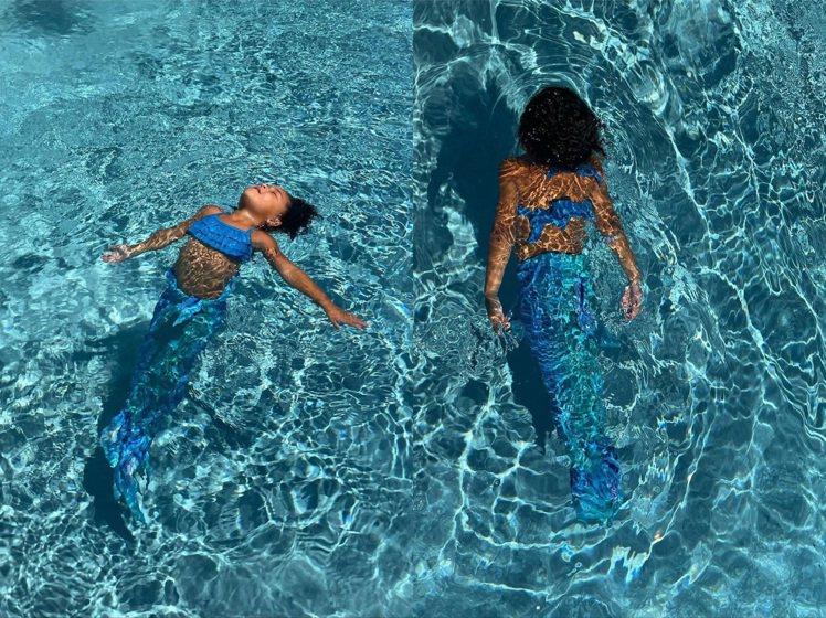 凱莉珍娜女兒Stormi穿成美人魚,已經開始練習背影照。圖/取自IG