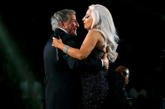 東尼班奈特(左)與女神卡卡不僅是忘年之交,也是舞台上的好搭檔。(路透資料照片)