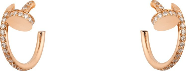 卡地亞Juste un Clou系列玫瑰金鋪鑽耳環,18萬6000元。圖/卡地亞...
