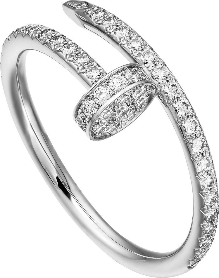 卡地亞Juste un Clou系列白K金鋪鑽戒指,17萬6000元。圖/卡地亞...