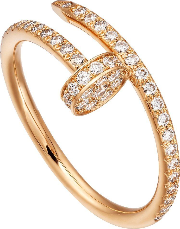 卡地亞Juste un Clou系列玫瑰金鋪鑽戒指,16萬6000元。圖/卡地亞...