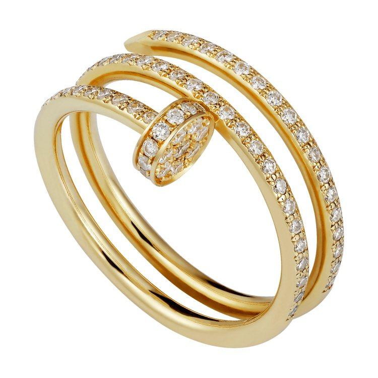 卡地亞Juste un Clou黃金雙圈鋪鑽戒指,28萬8000元。圖/卡地亞提...