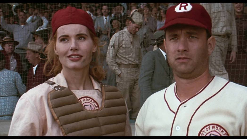 「紅粉聯盟」最後由吉娜戴維絲與湯姆漢克斯主演。圖/摘自imdb