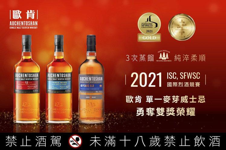 歐肯單一麥芽蘇格蘭威士忌,獲2021國際烈酒競賽ISC、SFWSC金獎殊榮。圖/...