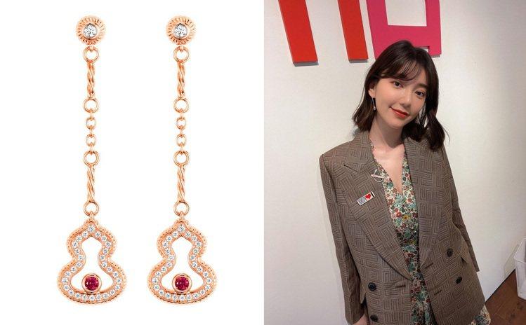 玫瑰金、葫蘆造型的Qeelin Wulu耳環,靈感來自古中國的絲綢之路。圖 / ...