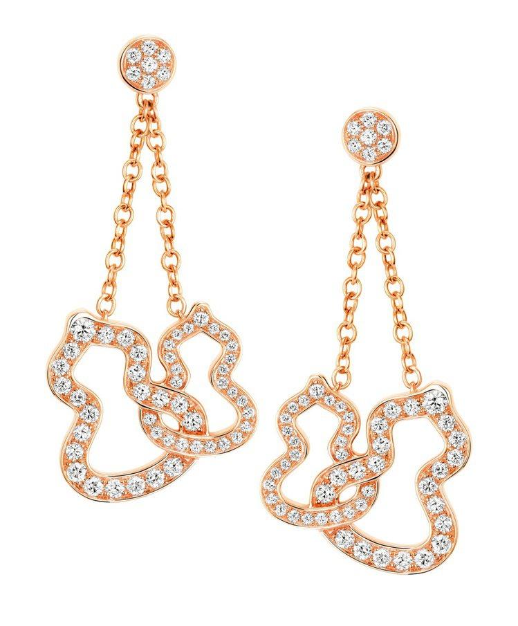 Qeelin Double Wulu 18K 玫瑰金鑲鑽耳環,22萬8,500元...