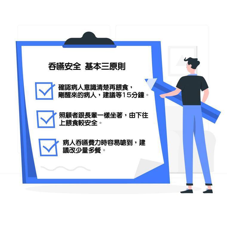 吞嚥基本安全原則。資料來源:台灣咀嚼吞嚥障礙學會、元氣網。圖/freepik