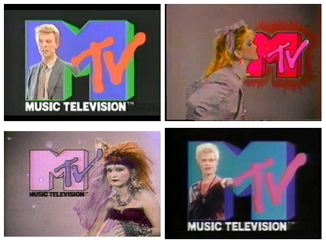 左上順時鐘為大衛鮑伊、瑪丹娜、比利艾鐸、辛蒂勞勃。 圖/取自MTV
