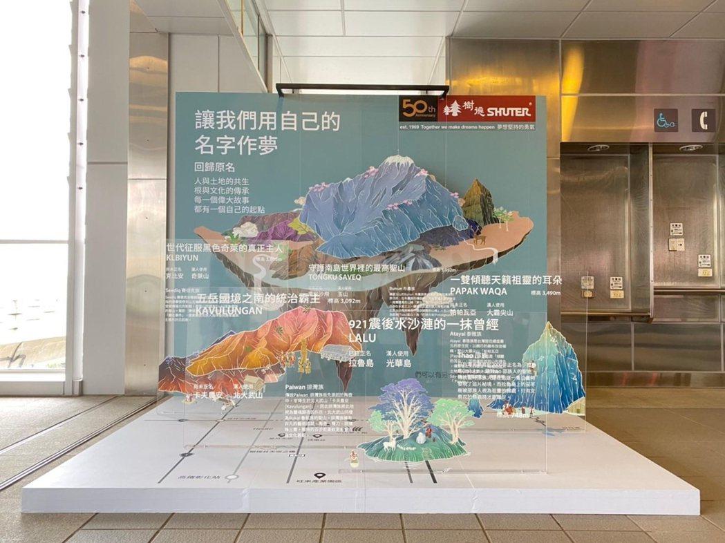 樹德企業在台中捷運大慶站,以台灣的「山」為主題,講述每座山都有著她原本的名字和自...